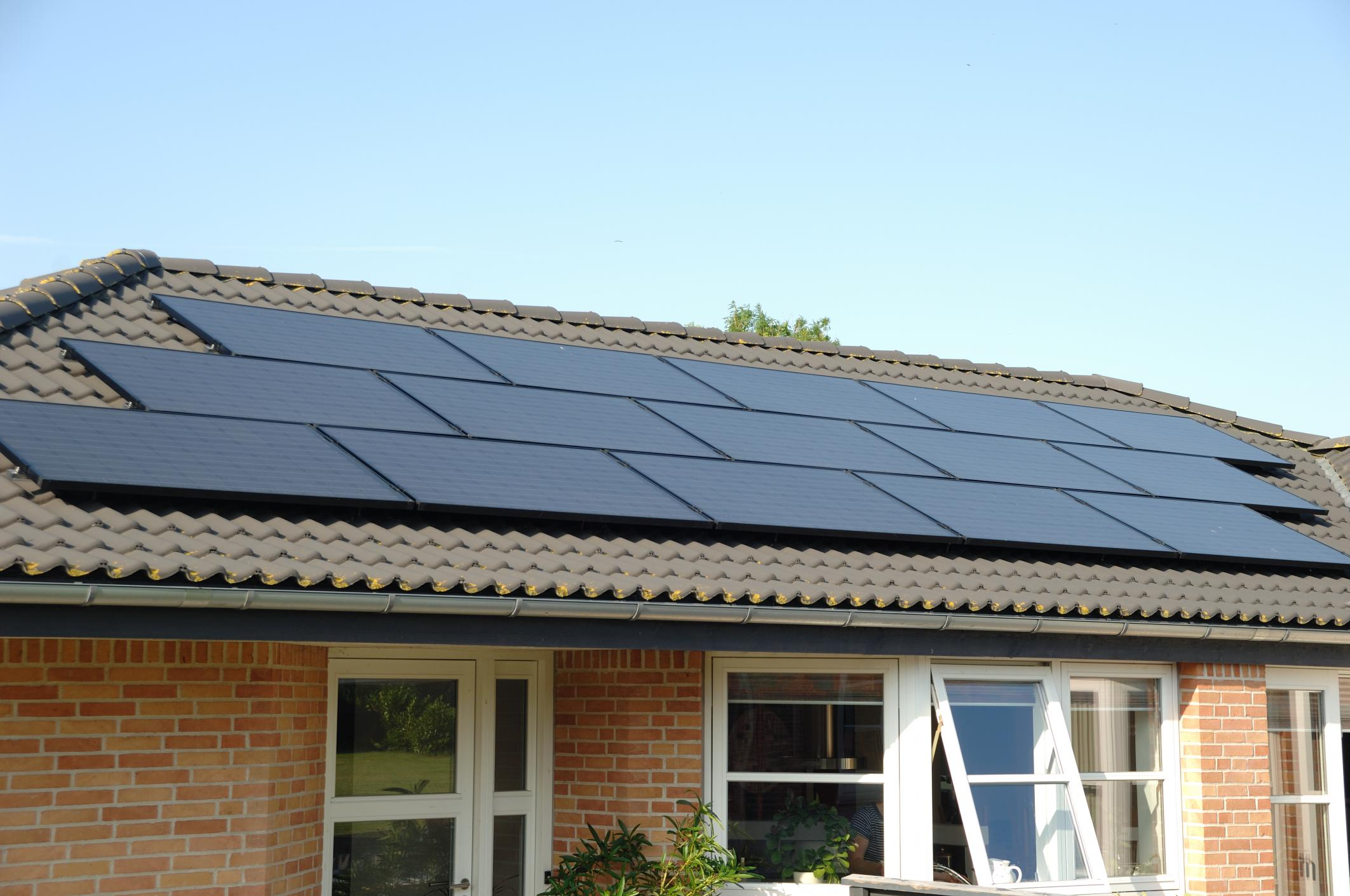 Black solar panels on a house